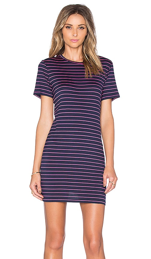 amour vert Brigette Tee Dress in Navy & Pink Stripe