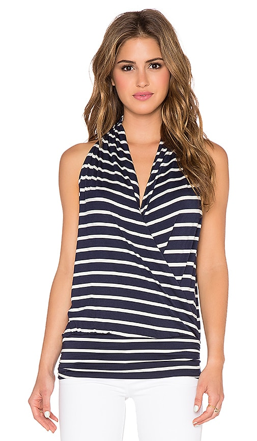 amour vert Agnes Top in Navy & Ivory Stripe