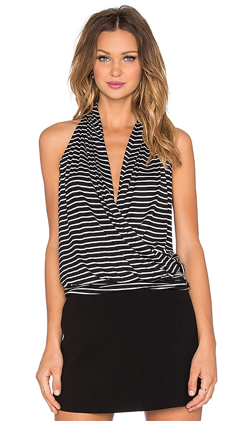 amour vert Agnes Top in Black & Ivory Stripe