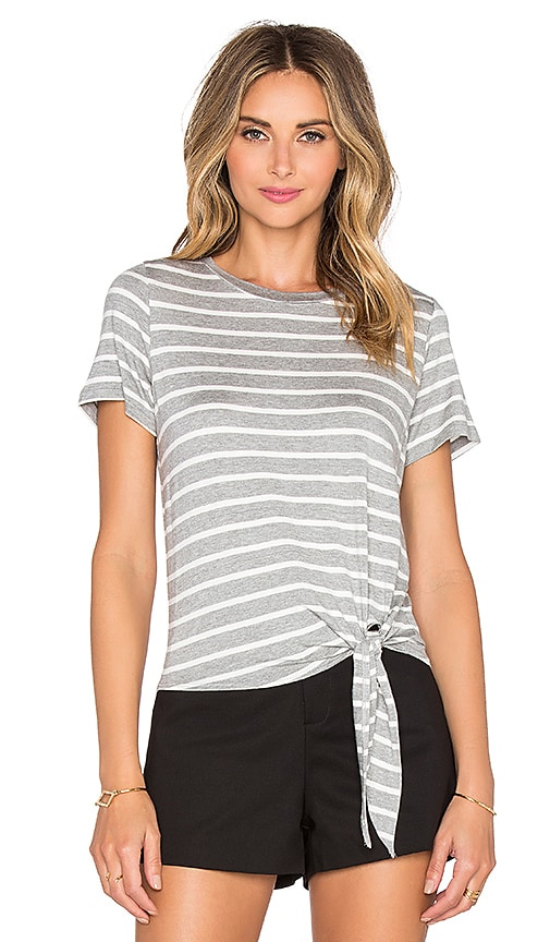 amour vert Julita Tee in Heather Grey & Ivory Stripe