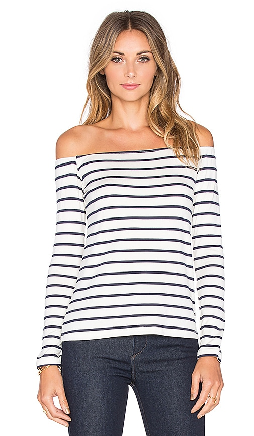 amour vert Shae Top in Ivory & Navy Stripe