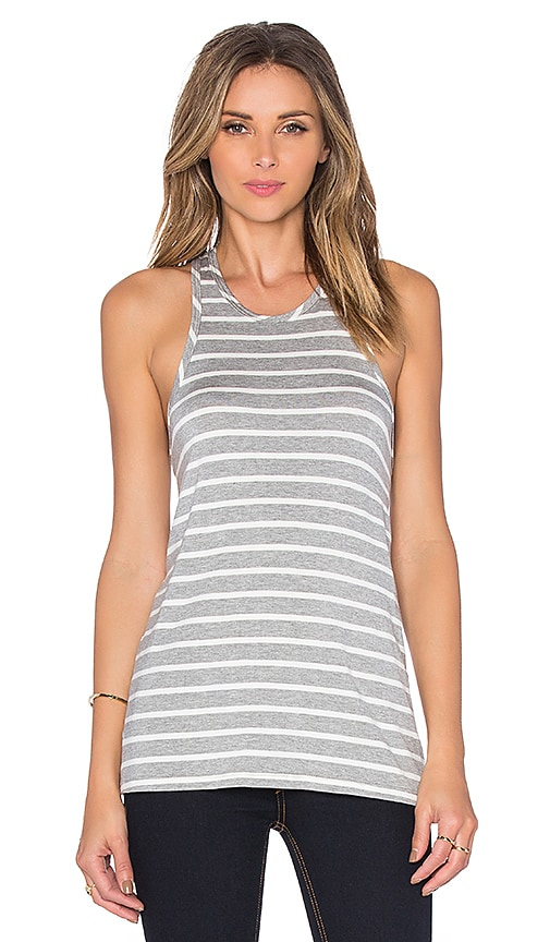 amour vert Martina Tank in Heather Grey & Ivory Stripe