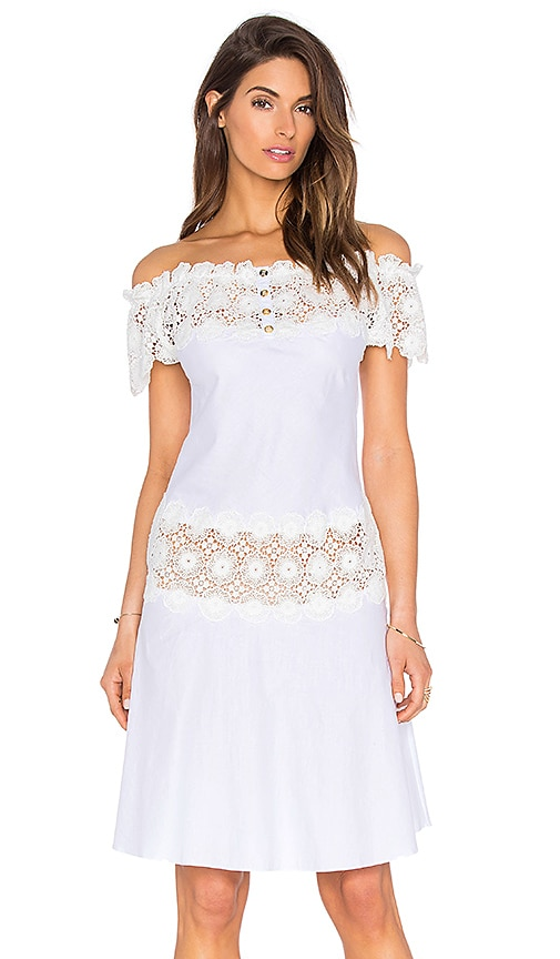 AMIR SLAMA Carioca Off the Shoulder Dress in White