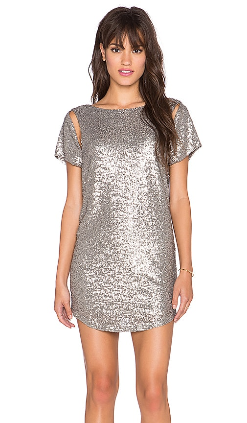 AMUSE SOCIETY Midnight Dress in Metallic Silver
