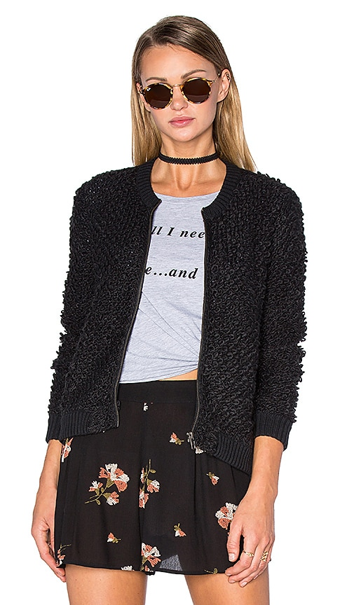AMUSE SOCIETY Lafayette Sweater Jacket in Black Sands