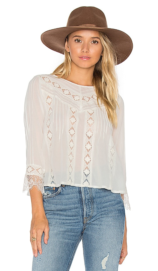 AMUSE SOCIETY Cherish Woven Top in White