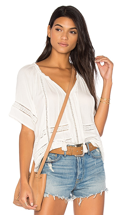 AMUSE SOCIETY Carla Woven Top in White