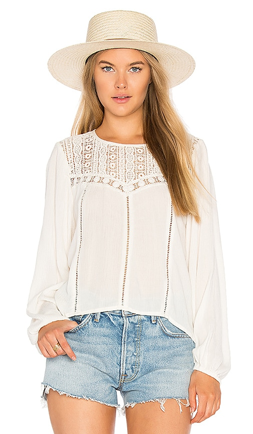AMUSE SOCIETY Sunset Rose Woven Top in Ivory