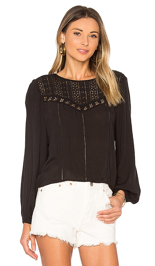 AMUSE SOCIETY Sunset Rose Woven Top in Black