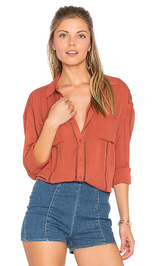 AMUSE SOCIETY Belmont Woven Top in Red