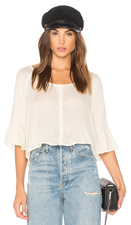 AMUSE SOCIETY Cloudscape Ruffle Top in Ivory