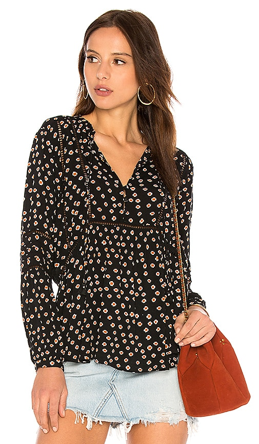 AMUSE SOCIETY Chateau Woven Top in Black