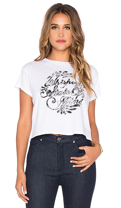 AMUSE SOCIETY Whiskey Bent Crop Tee in Casa Blanca