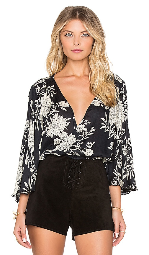 AMUSE SOCIETY Pipa Blouse in Black Sands