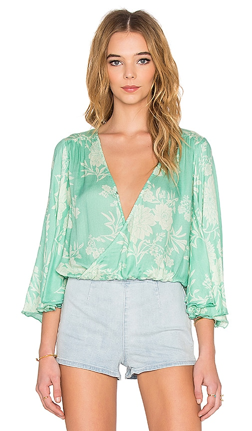 AMUSE SOCIETY Pipa Blouse in Coastal Green
