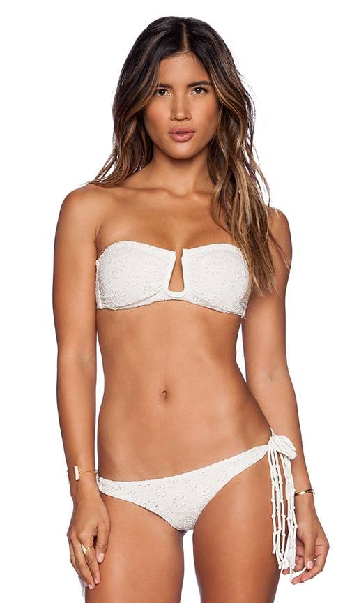 AMUSE SOCIETY Vida Eyelet Bandeau Bikini Top in Casa Blanca