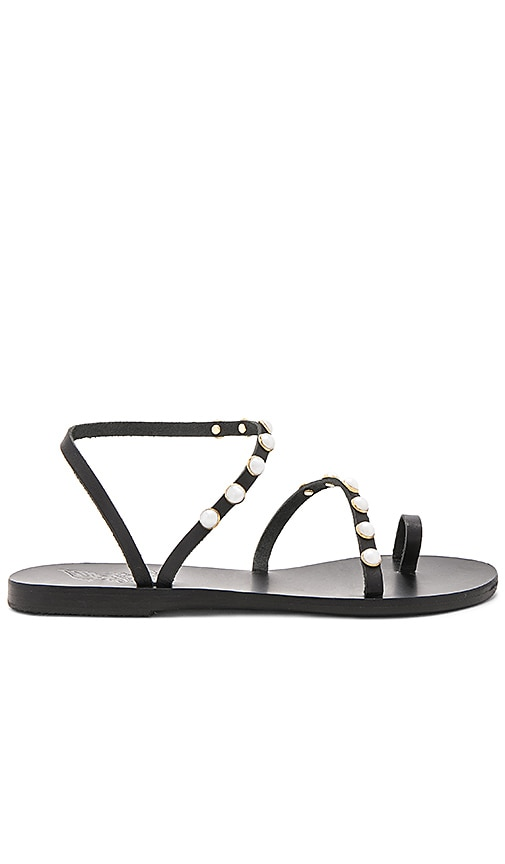 Ancient Greek Sandals Apli Eleftheria Pearls Sandal in Black