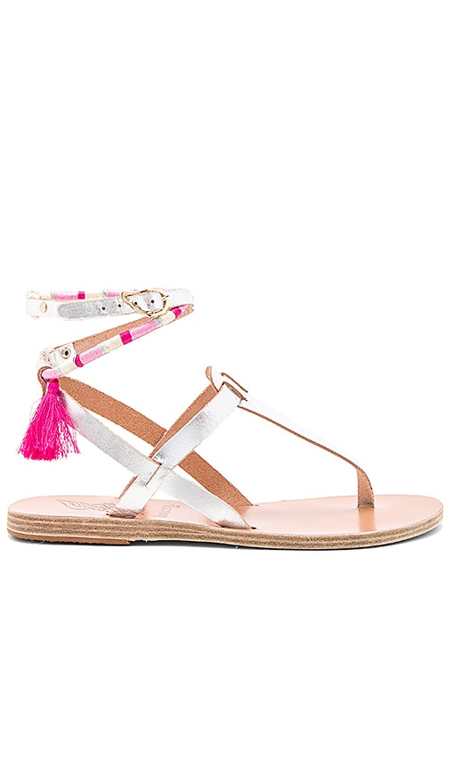 Ancient Greek Sandals x lemlem Estia Wrap Sandal in Metallic Silver