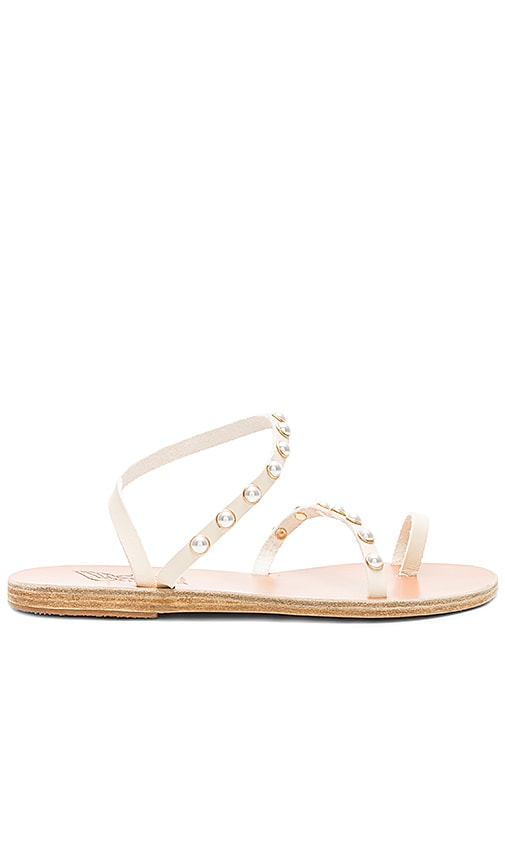 Ancient Greek Sandals Apli Eleftheria Pearls Sandal in Cream