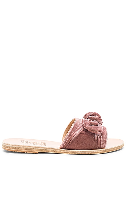 Ancient Greek Sandals Taygete Bow Velvet Sandal in Mauve
