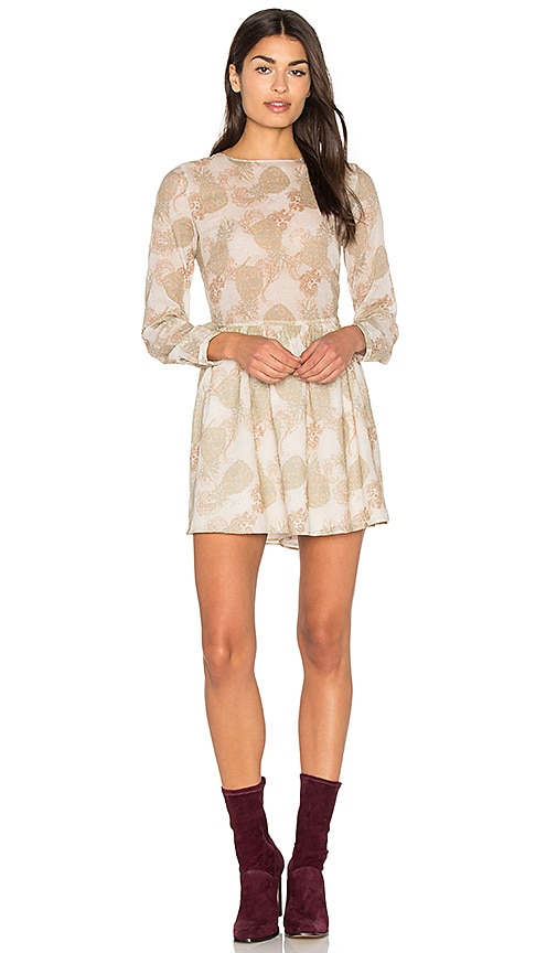 ANINE BING Printed Cotton Dress in Beige