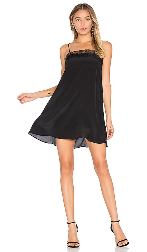 ANINE BING Silk Dress with Lace Trim in Black