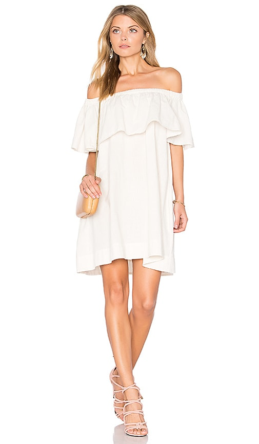 ANINE BING Off Shoulder Dress in White