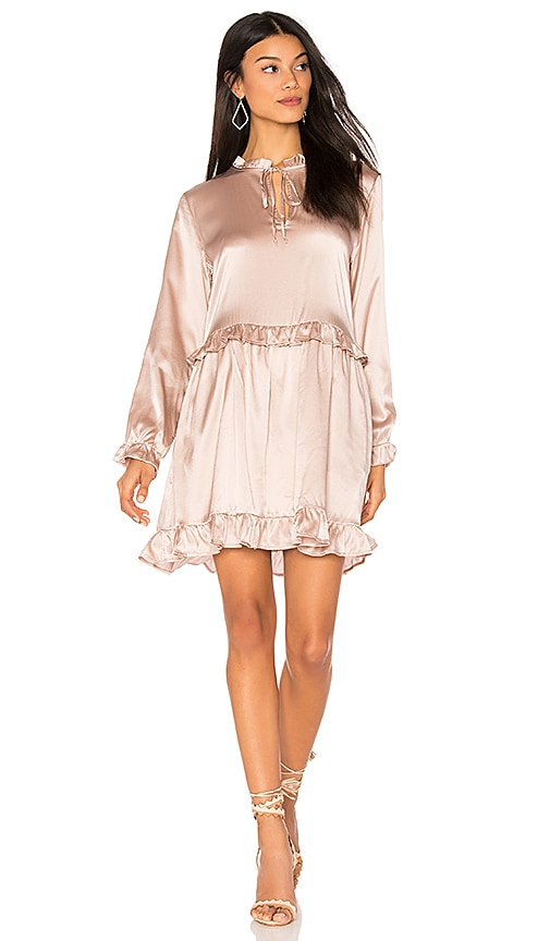ANINE BING Frill Silk Dress in Pink