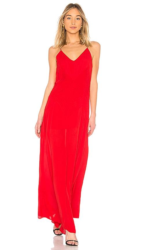 Sophia Long Slip Dress, Red
