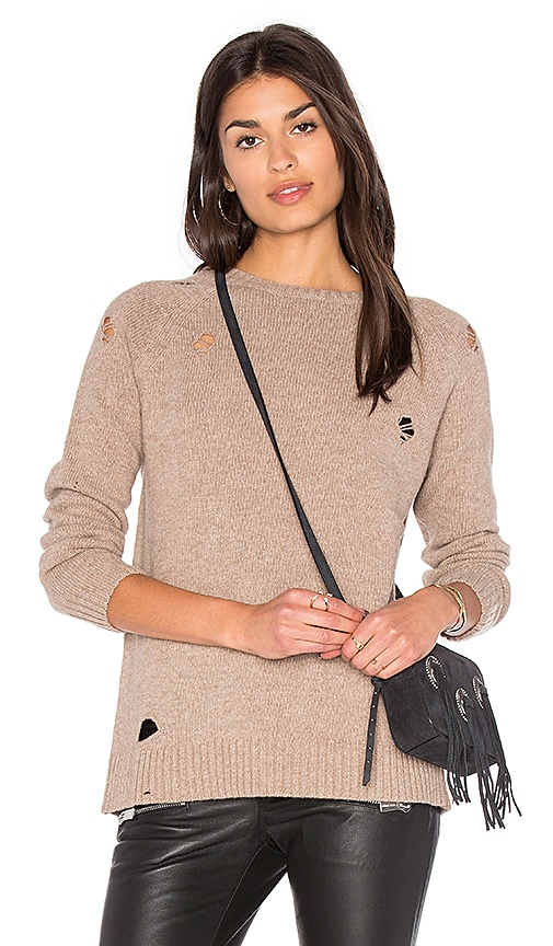 ANINE BING Distressed Knit Sweater in Taupe