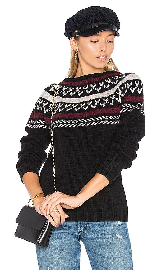ANINE BING Neck Knit Detail Sweater in Black