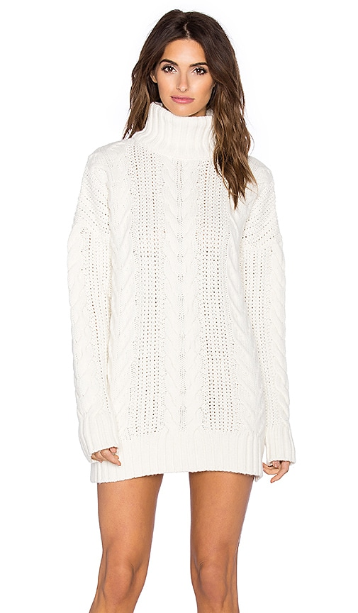 ANINE BING Chunky Cable Knit Sweater in Ivory