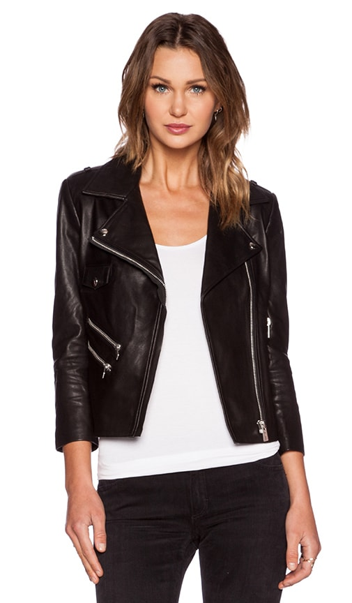 ANINE BING Cropped Leather Jacket in Black | REVOLVE