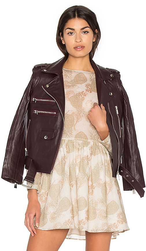 ANINE BING Biker Leather Jacket in Burgundy