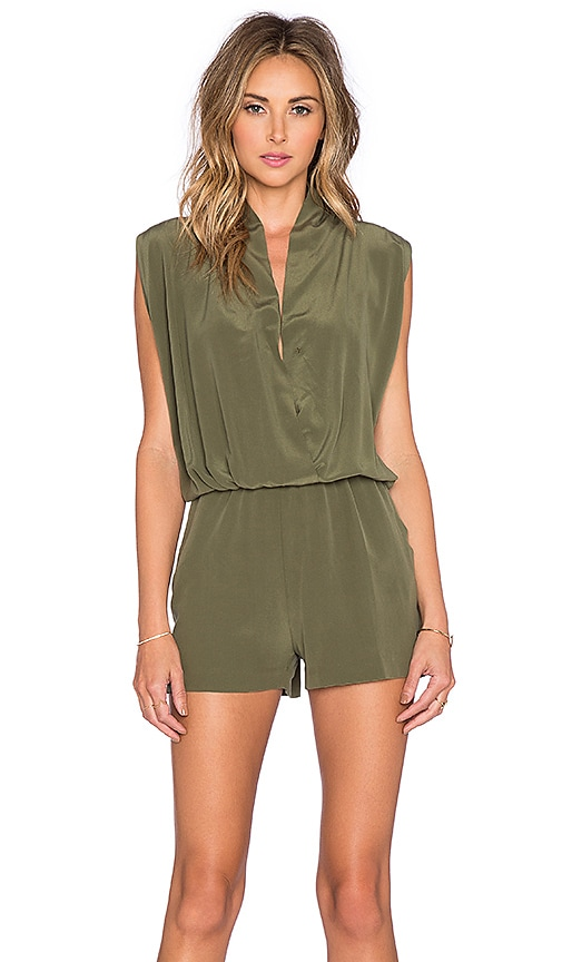 ANINE BING Silk Romper in Army