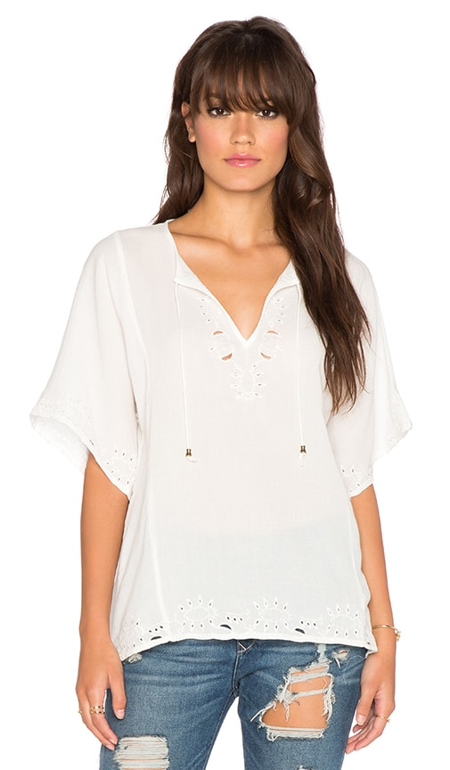 ANINE BING Embroidered Blouse in White
