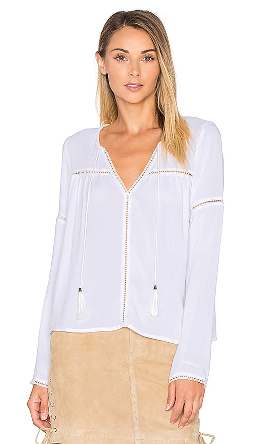 ANINE BING Long Sleeve Bohemian Top in White