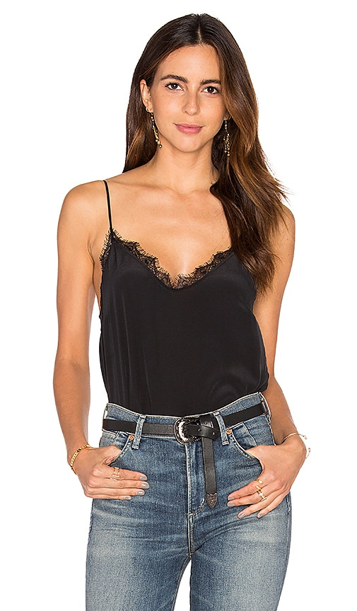 ANINE BING Silk Camisole with Lace Details in Black