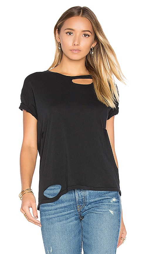 ANINE BING Distressed T Shirt in Black