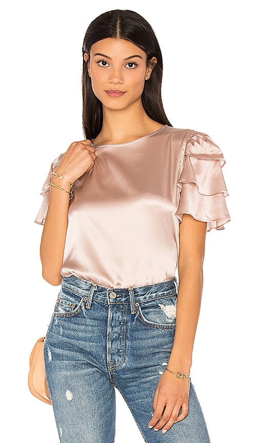 ANINE BING Frill Sleeve Top in Pink