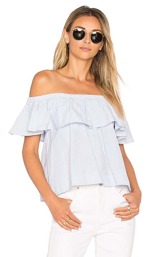 ANINE BING Striped Off The Shoulder Top in Blue