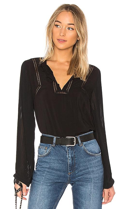 ANINE BING Pleated Sleeve Blouse in Black