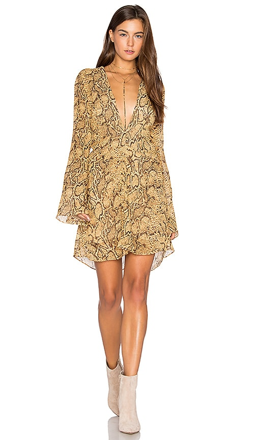 ANIMALE Deep V Dress in Yellow