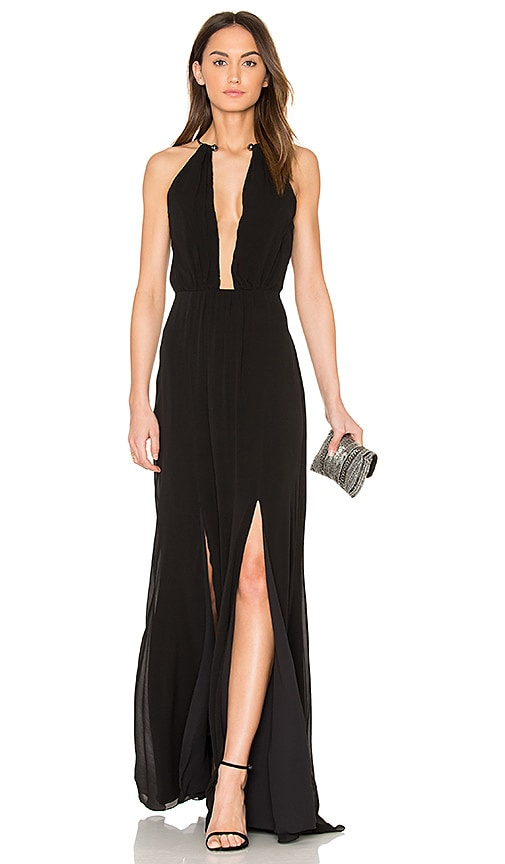 ANIMALE Plunging V Maxi Dress in Black