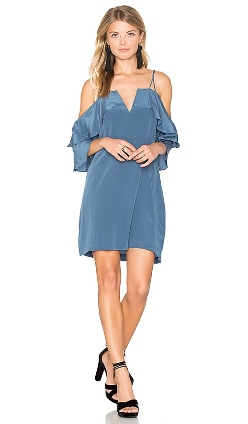 ANIMALE Ruffle Sleeve Mini Dress in Blue