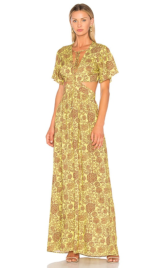 ANIMALE Cut Out Maxi Dress in Yellow