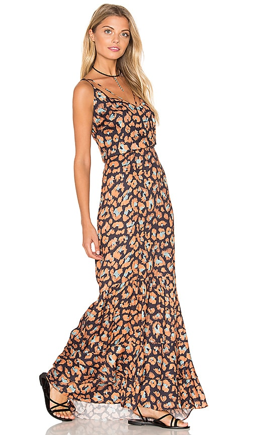 ANIMALE Jaguar Maxi Dress in Orange