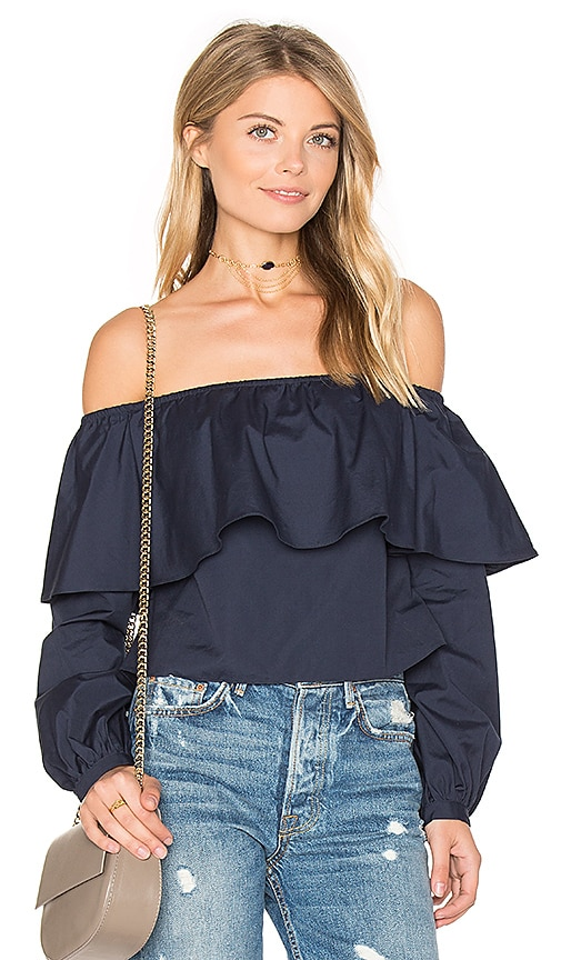 ANIMALE Exposed Shoulder Top in Blue