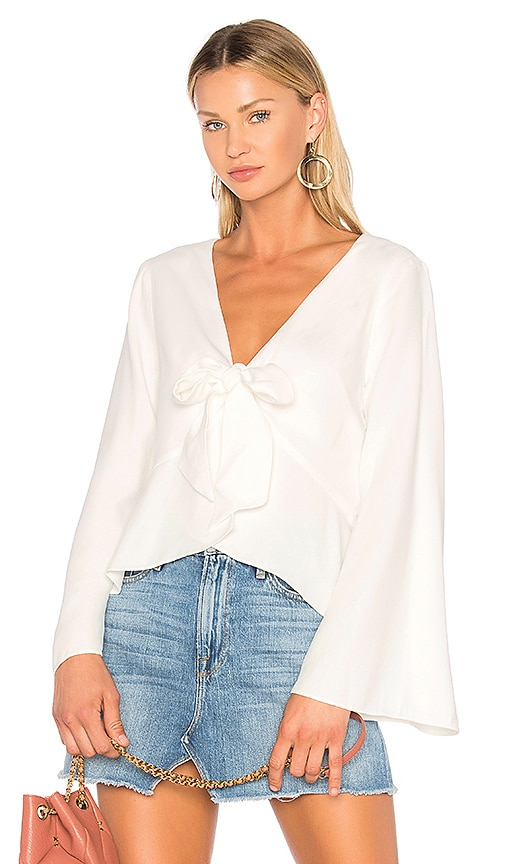 ANIMALE Bell Sleeve Blouse in White