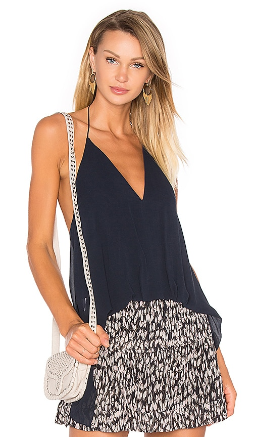 ANIMALE Open Back Halter Top in Navy